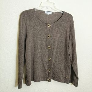 Large Calvin Klein Cardigan with grommet fasteners